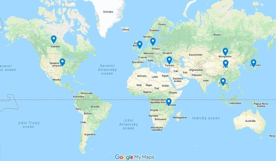 kustovnice mapa