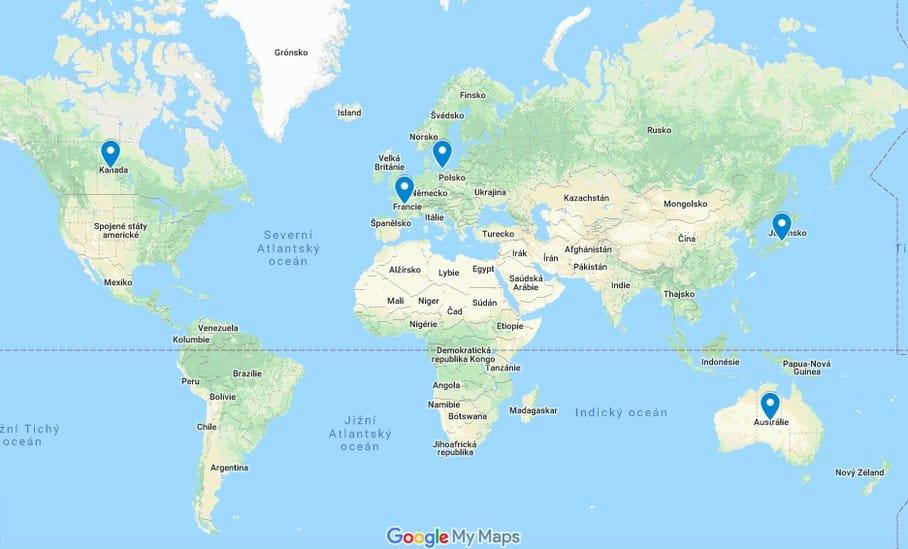 máta peprná mapa