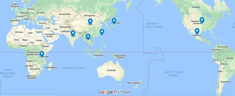 mapa Spirulina