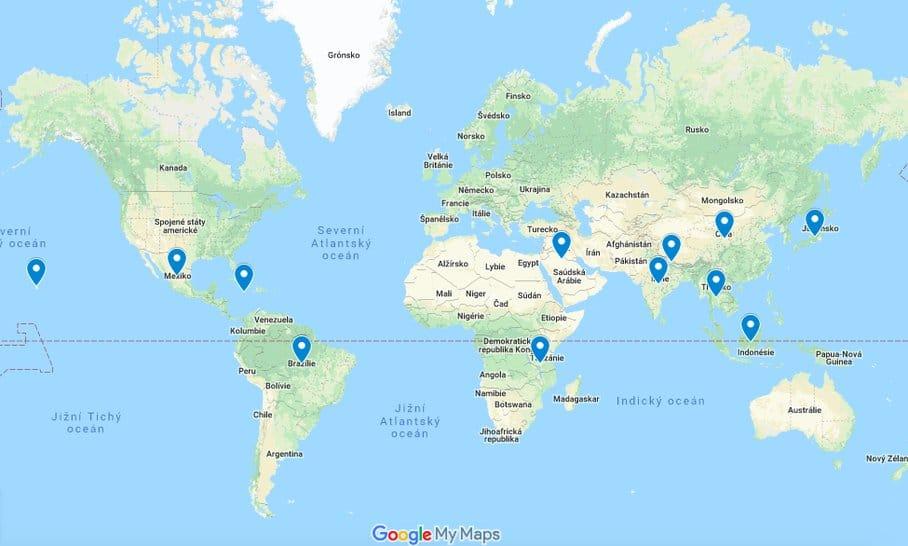 mapa zázvor